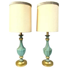 20th Century Pair of Neoclassical Style Ceramic & Brass Lamps by, Stiffel