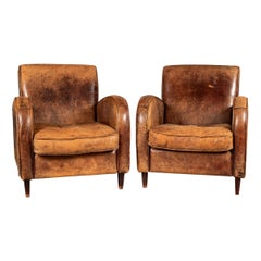 20th Century Pair of Of Art Deco Style Dutch Sheepskin Leather Club Chairs