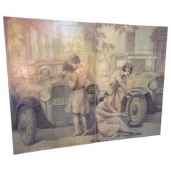 20th Century Pair of Oil on Canvas Chevrolet Theme, 1930s