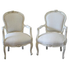 20th Century Pair of Painted and Upholstered Louis XV Style Open Armchairs