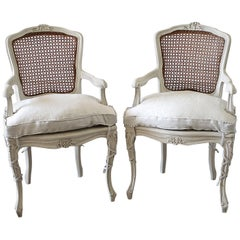 20th Century Pair of Painted Cane Back Open Armchairs with Linen Slipcovers