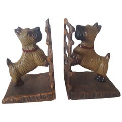 """20th Century Pair of Painted Cast Iron, """"Scotty"""" Bookends"""