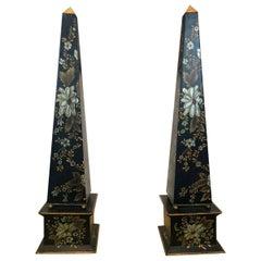 20th Century Pair of Painted Metal Obelisks, Jordan & Co