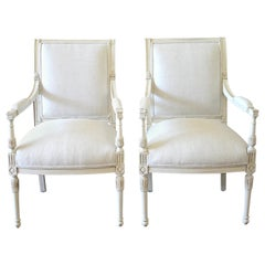 20th Century Pair of Painted Napoleon Style Upholstered Open Armchairs