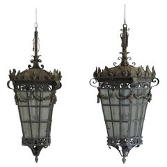 20th Century Pair of Parisian Hanging Lanterns, French Art Deco Iron Lights