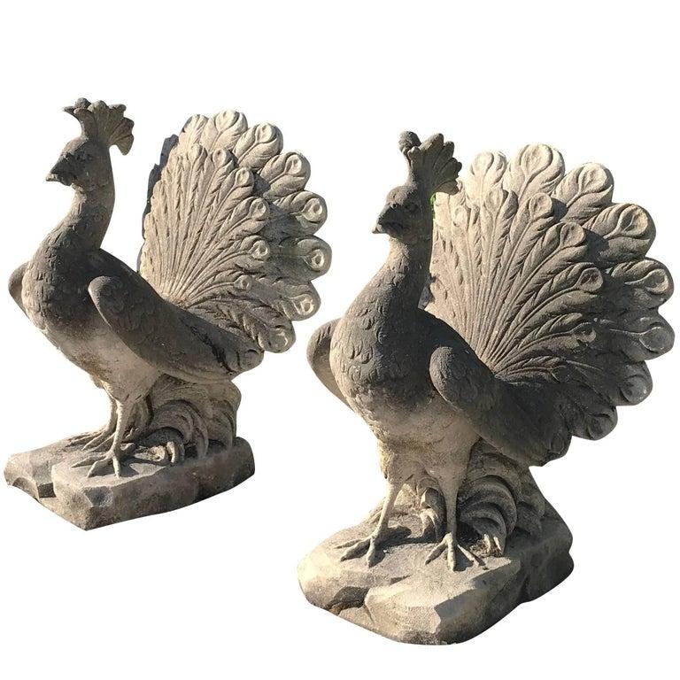 20th Century Pair of Peacocks in Limestone