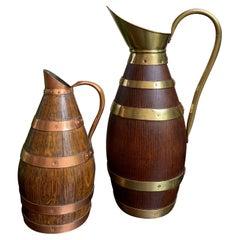 20th century Pair of Petite French Oak Jug Tankard Pitcher Vessel w Brass Copper