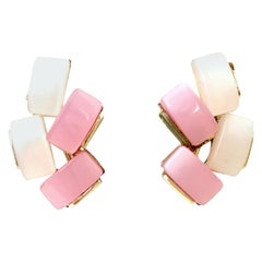 20th Century Pair Of Pink Lucite & Silver Earrings by Coro
