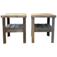 20th Century Pair of Primitive Wood Side Tables