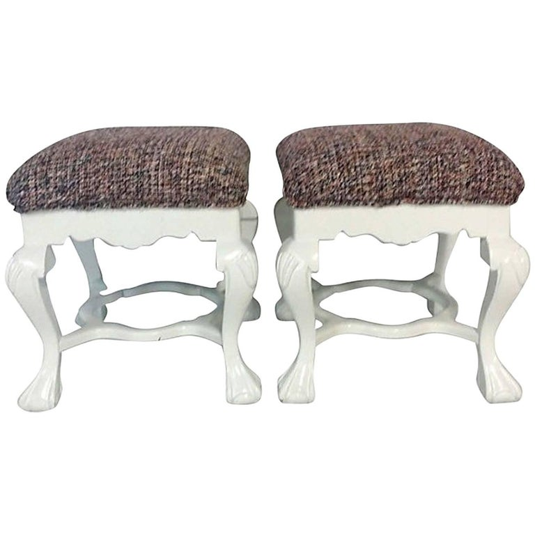 Early 20th century Queen Anne style, finely carved white lacquered mahogany ball, claw and shell motif benches. Newly upholstered in a vintage Chanel style boucle fully lined upholstery fabric .The Boucle upholstery grade fabric is a silk and wool