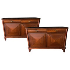 20th Century Pair of Sideboards, Italian Walnut Commodes by Paolo Buffa