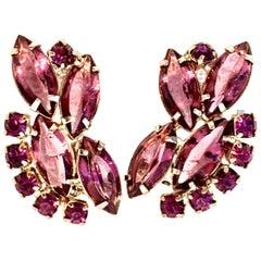 20th Century Pair Of Silver Amethyst Austrian Crystal Earrings