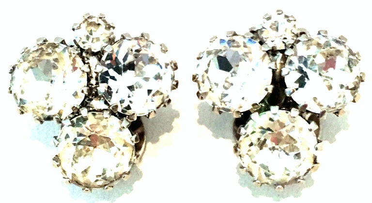 20th Century Pair Of Silver & Austrian Crystal Abstract Earrings By, Weiss In Good Condition For Sale In West Palm Beach, FL