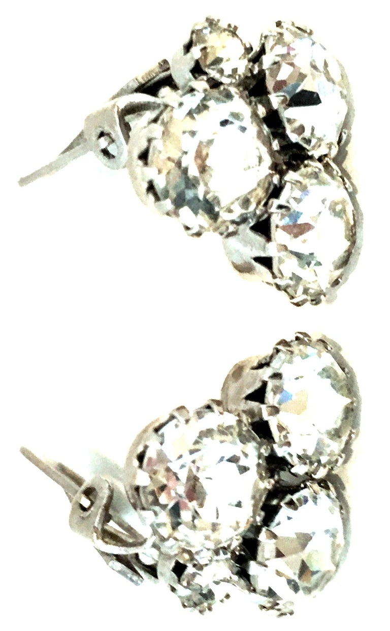 Women's or Men's 20th Century Pair Of Silver & Austrian Crystal Abstract Earrings By, Weiss For Sale