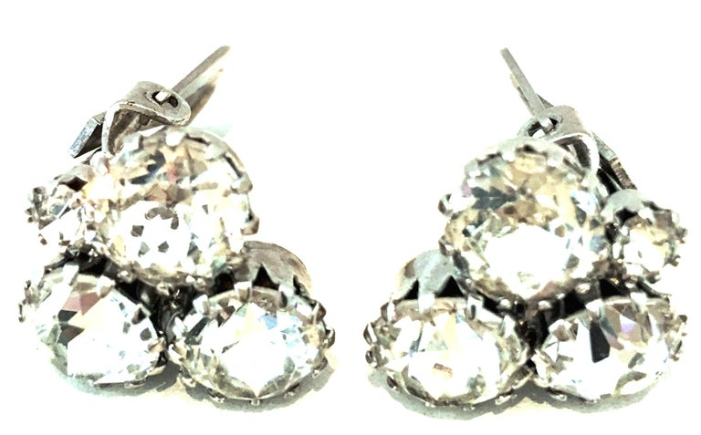 20th Century Pair Of Silver & Austrian Crystal Abstract Earrings By, Weiss For Sale 1