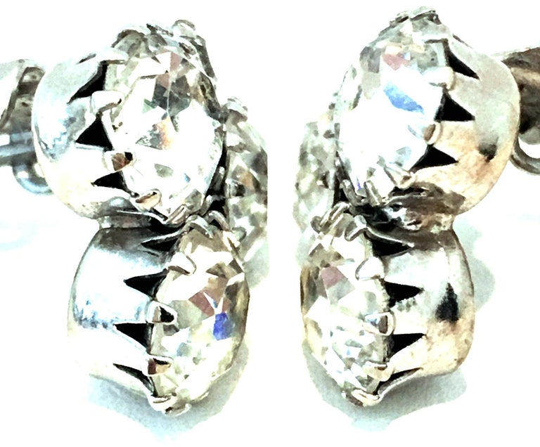 20th Century Pair Of Silver & Austrian Crystal Abstract Earrings By, Weiss For Sale 2