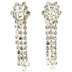 20th Century Pair of Silver & Austrian Crystal Chandelier Earrings By, Garne