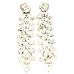 20th Century Pair Of Silver & Austrian Crystal Chandelier Earrings by, Kramer