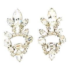 20th Century Pair Of Silver & Austrian Crystal Chandelier Style Earrings