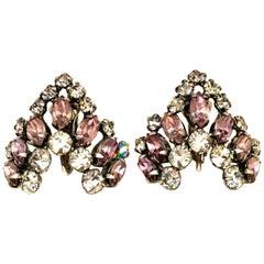 "20th Century Pair Of Silver & Austrian Crystal ""V"" Earrings"