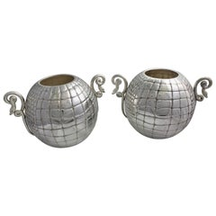 20th Century Pair of Silver Engraved Wine Cooler Croco Italy, 1950s