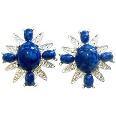 20th Century Pair Of Silver & Faux Lapis Lazuli Maltese Earrings By Coventry
