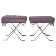 20th Century Pair of Silver Iron Benches after Jean Michel Frank
