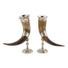 20th Century Pair of Silver Plated Scandinavian Cornucopia Horns, circa 1920