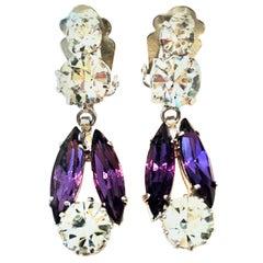 20th Century Pair Of Silver & Swarovski Amethyst Crystal Dangle Earrings