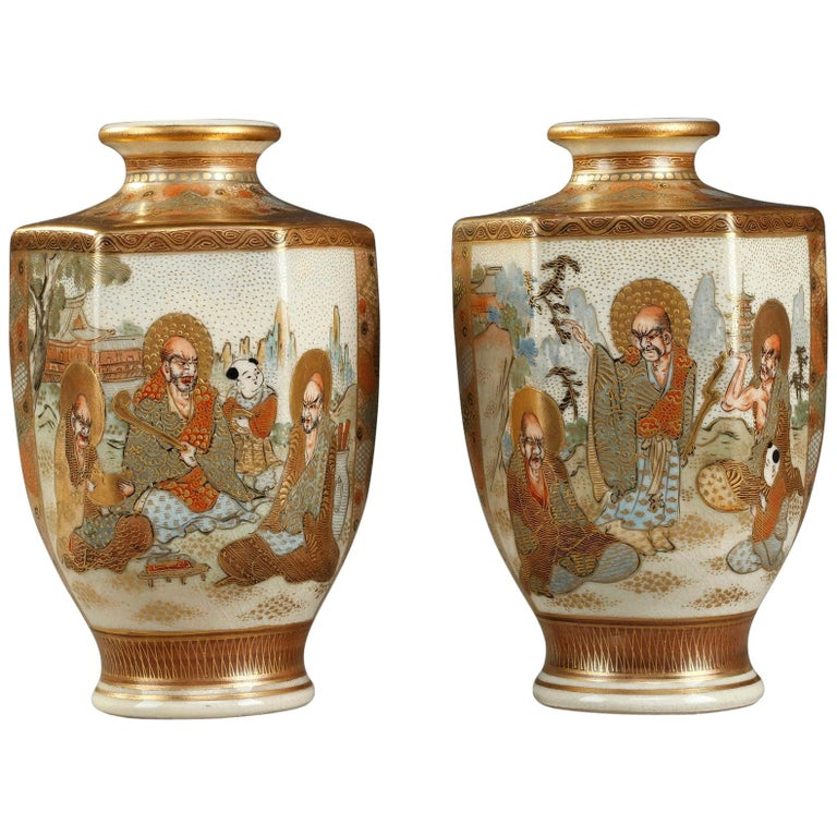 20th Century Pair of Small Porcelain Satsuma Vases For Sale