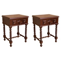 20th Century Pair of Solid Carved French Nightstands with Solomonic Columns