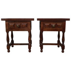 20th Century Pair of Spanish Country, Rustic Nightstands with Drawer