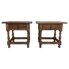 20th Century Pair of Spanish Nightstands with Drawer and Iron Hardware