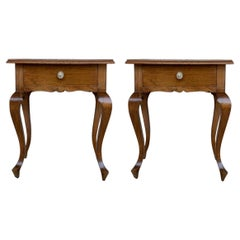20th Century Pair of Spanish Nightstands with Two Drawers and Iron Hardware