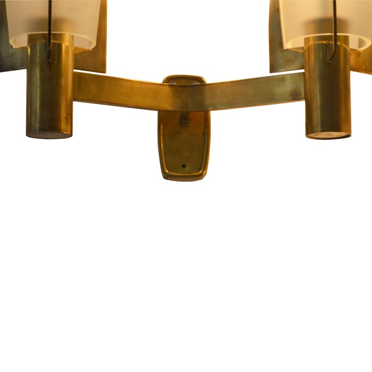 Mid-Century Modern 20th Century Pair of Stilnovo Sconces in Golden Brass and Etched Glass For Sale