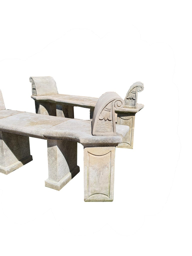 Pair of finely carved stone benches.