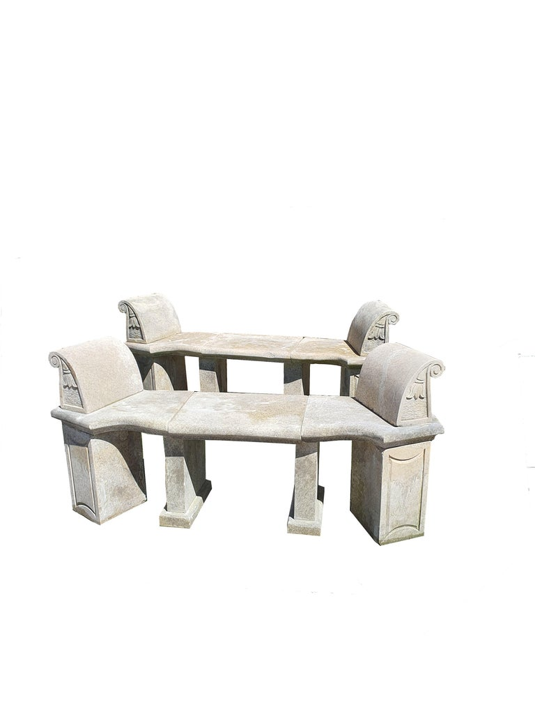 Sicilian 20th Century Pair of Stone Benches For Sale