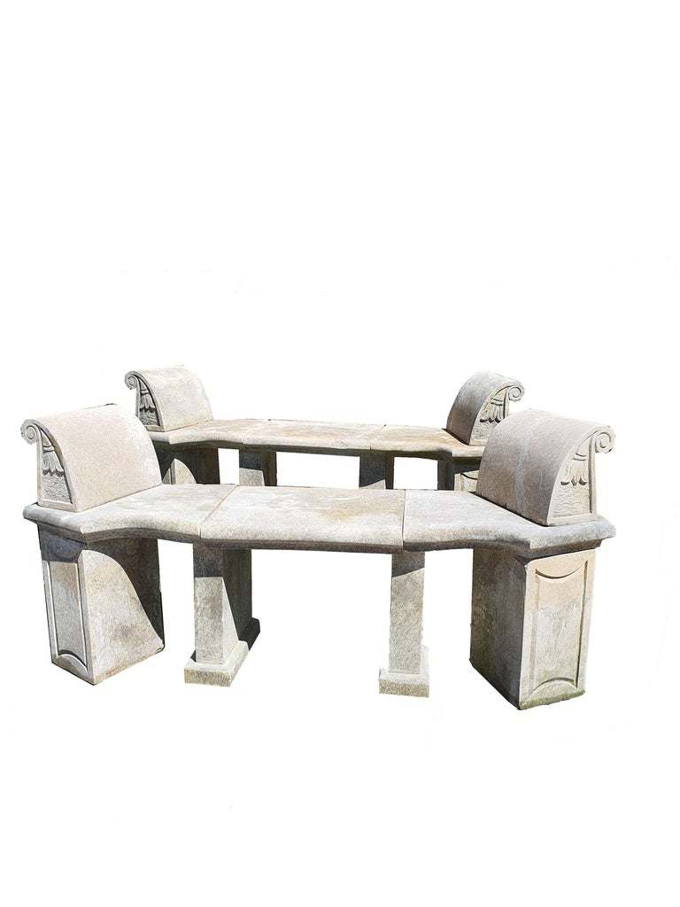 Carved 20th Century Pair of Stone Benches For Sale