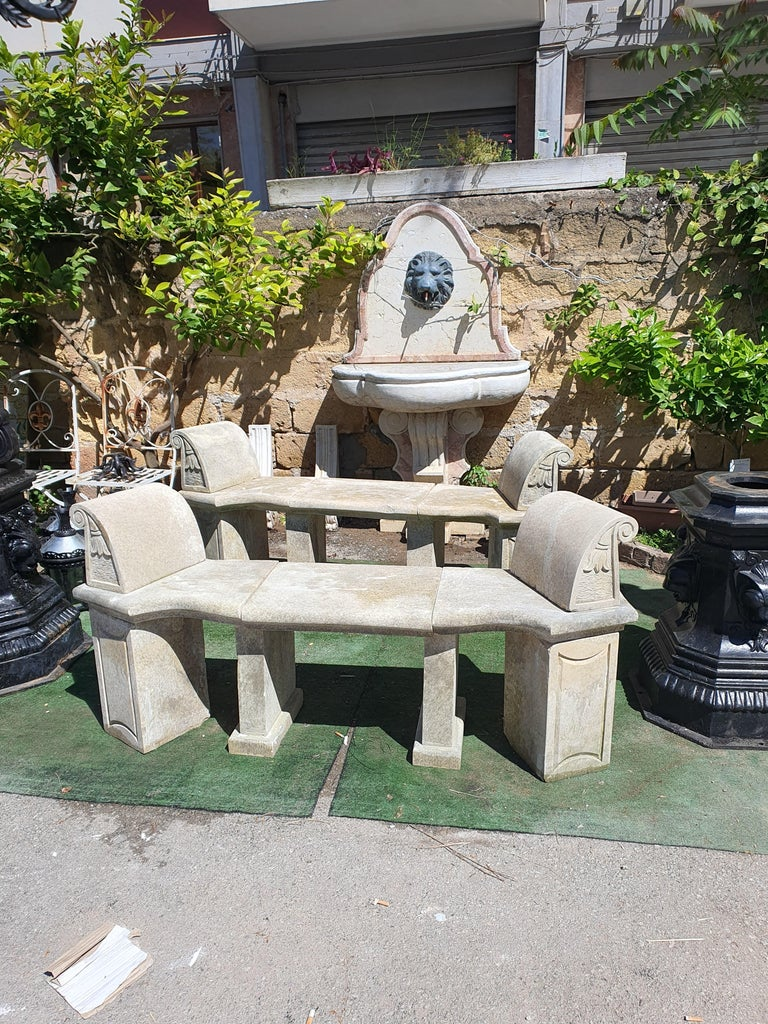 20th Century Pair of Stone Benches In Good Condition For Sale In PALERMO, IT