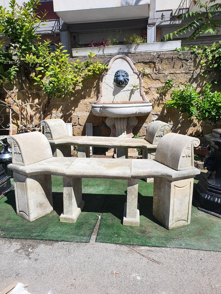 20th Century Pair of Stone Benches For Sale 1