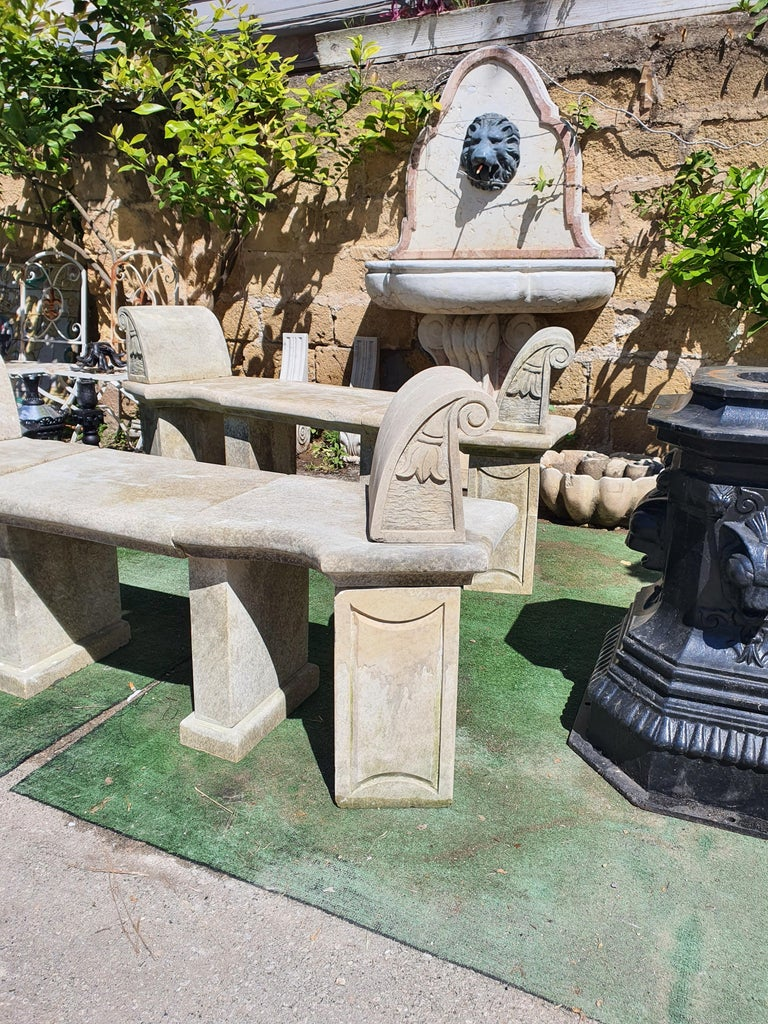 20th Century Pair of Stone Benches For Sale 2