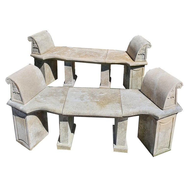 20th Century Pair of Stone Benches For Sale