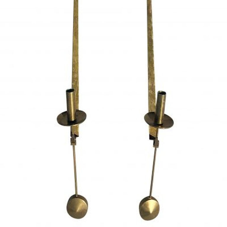 20th Century Pair of Swedish Brass Pendeln Candleholders by Pierre Forsell In Good Condition For Sale In West Palm Beach, FL