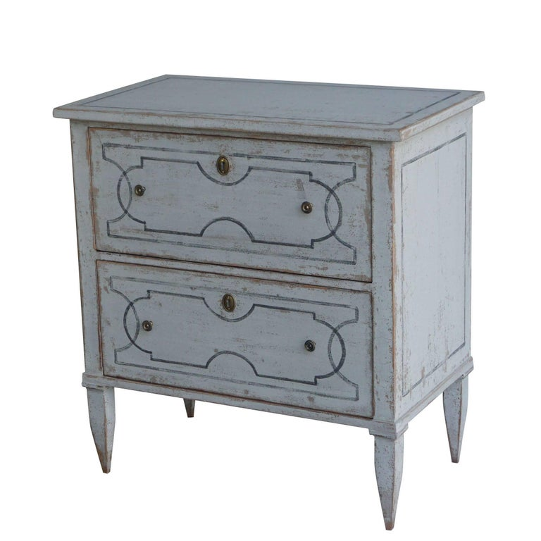 Brass 20th Century White Pair of Swedish Gustavian Chests, Antique Pinewood Commodes