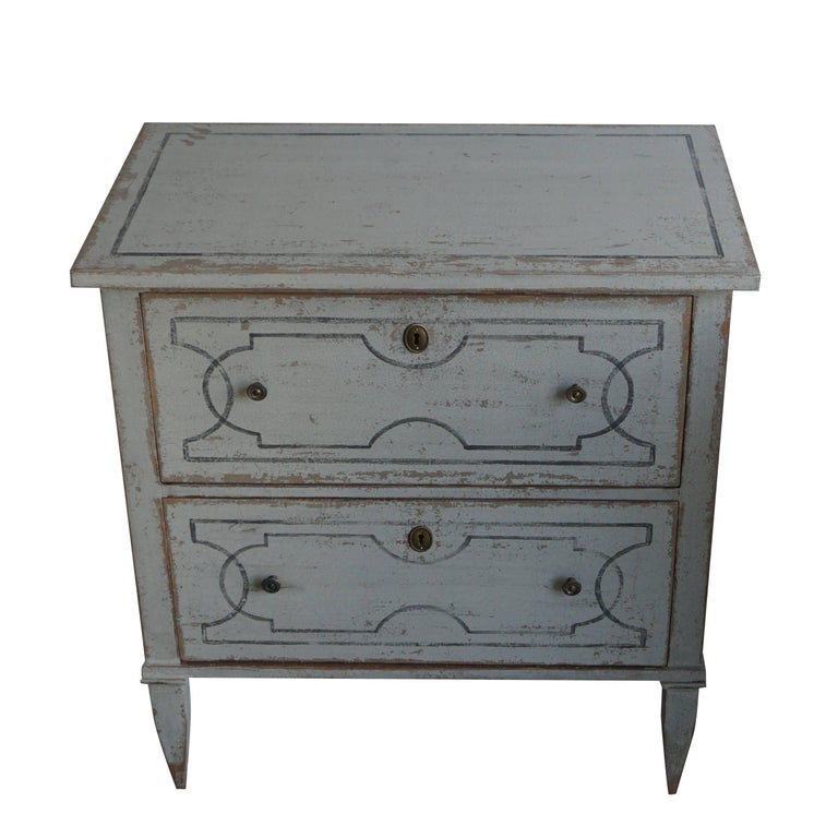 Hand-Carved 20th Century White Pair of Swedish Gustavian Chests, Antique Pinewood Commodes