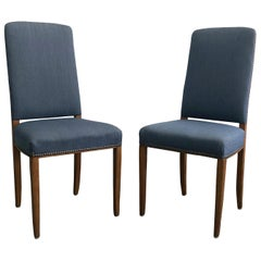 20th Century Pair of Swedish Gustavian Blue Dining Chairs by Carl Malmsten