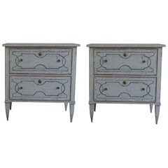 20th Century Pair of Swedish Gustavian Chests, Antique Pinewood Commodes
