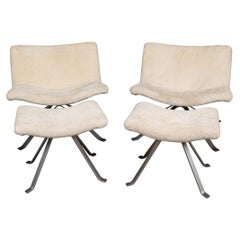 20th Century Pair of Swivel Chairs & Foot Rests in Natural Shearling, 1980s