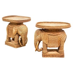 20th Century Pair of Tables Elephant-Shaped in Rattan Attr. Vivai del Sud '70s