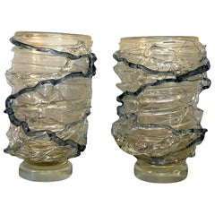 20th Century Pair of Transparent Murano Glass Vases by Pino Signoretto